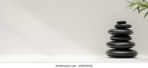 3D rendering, stack of black pebbles or stones on white background and copy space, 3D illustration, abstract background