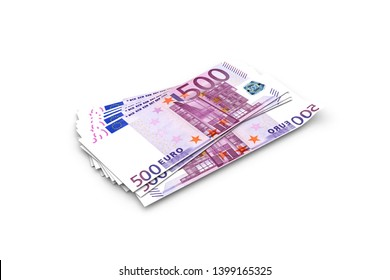 3d rendering, stack of five hundred euro banknotes, isolated on white background.