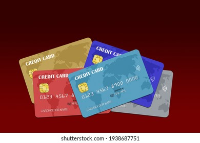 3D rendering of a stack of multicolored fictitious credit cards isolated on red background with copy space.