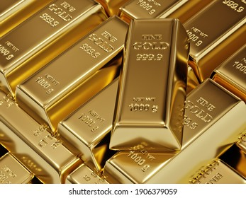 3D rendering of stacked fine gold bars shot from above