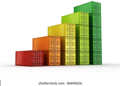 3d rendering of stacked shipping containers forming a chart