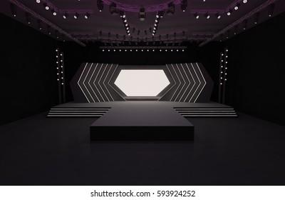 3D Rendering of stage event led light tv projector interior illustration