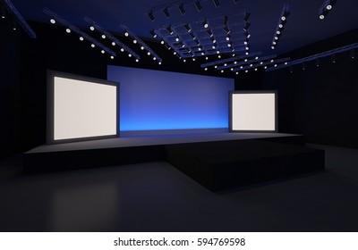 3D Rendering of stage event led tv light interior illustration