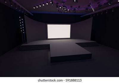 3D Rendering of stage event tv led exhibition projector light interior illustration