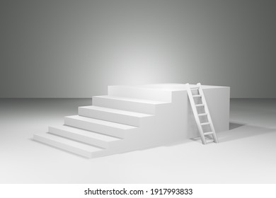 3D rendering of stairs to success concept.
