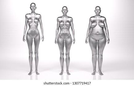 3D Rendering : standing female body type illustration : ectomorph (skinny type), mesomorph (muscular type), endomorph(heavy weight type)