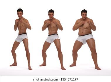 3D Rendering : standing male body type illustration : ectomorph (skinny type), mesomorph (muscular type), endomorph (heavy weight type),Front View