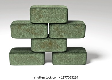 3d rendering of staple of brick stones with mossy surface