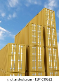3d rendering of staple of metal sea freight containers. view from below