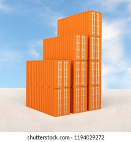3d rendering of staple of orange colored sea freight containers with cloudy sky