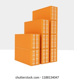 3D rendering of stapled sea freight containers,isolated