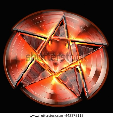 3D Rendering Of A Star Symbol Carved Inside Circe With Red Lava Heat