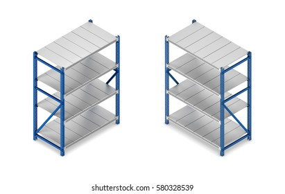 3d rendering of a steel grey-and-blue shelving unit in double-sided isometric view. Warehouse equipment. Storage and delivery. Inventory.