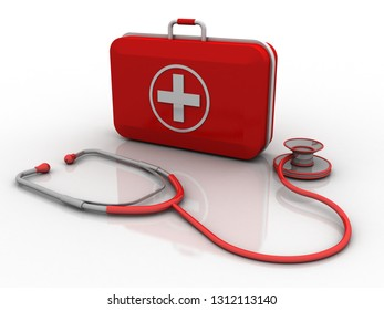 3d rendering stethoscope with first aid box