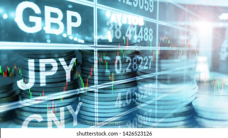3D Rendering of stock market cancle stick chart double exposure with stack of coins and currency exchange board background. Concept for forex trading, financial and money management. Foreign exchange