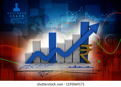 3d rendering Stock market online business concept. business Graph with indian rupee sign