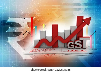 3d rendering Stock market online business concept. business Graph with GST