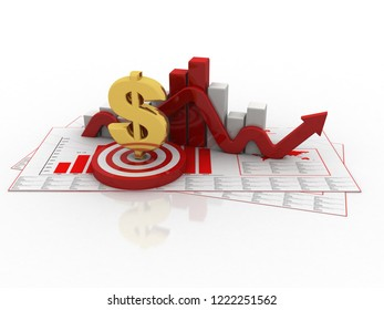 3d rendering Stock market online business concept. business Graph with target dollar sign