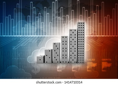 3d rendering Stock market online business concept. business Graph