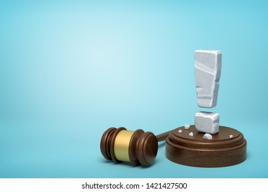 3d rendering of stone exclamation mark standing on sounding block with gavel beside on light-blue background with copy space. Lawsuits and trials. Court system. Cause celebre.