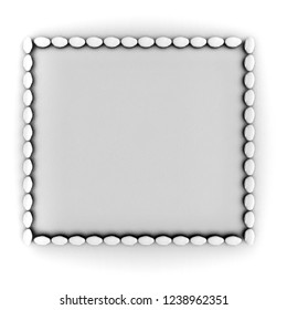 3d rendering of stone frame, monochrome,isolated