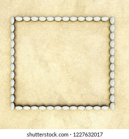 3d rendering of stone frame on sandy surface