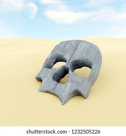 3d rendering of stone mask in shape of human skull