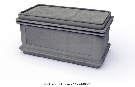 3D rendering of Stone sarcophagus covered with dirt and dust isolated on white background