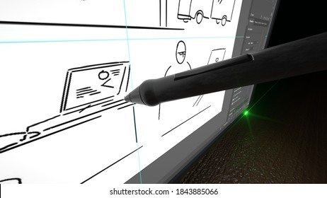 3d rendering of the storyboarding process closeup view