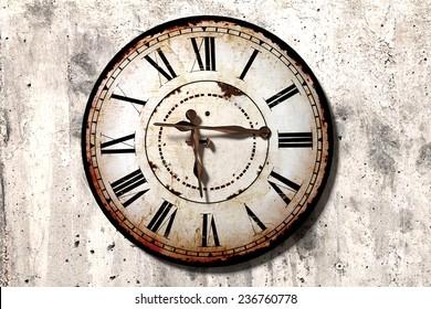 3d rendering of a strange broken antique clock