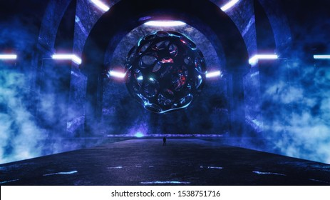 3D rendering of strange majestic abstract temple with glowing scary sphere hovering in the air