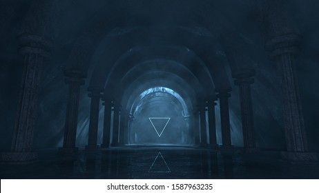 3D rendering of strange majestic temple with glowing ethereal lights