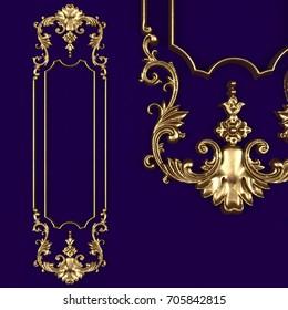 3d rendering stucco molding, gold frame