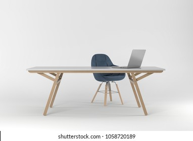 3D rendering of Studio with computer, chair and computer desk. On white background