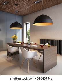 3D rendering Stylish Dining Room in Warm Colors