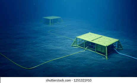 3d rendering of subsea manifolds on the seabed in deep water