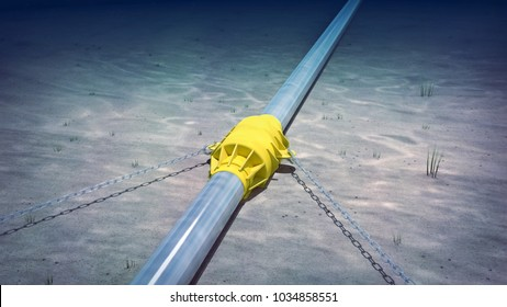 3d rendering of a subsea pipeline anchor