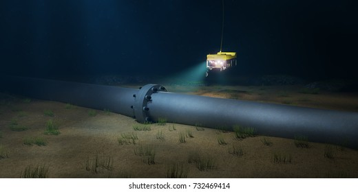 3D rendering of a subsea pipeline flange being inspected by an ROV