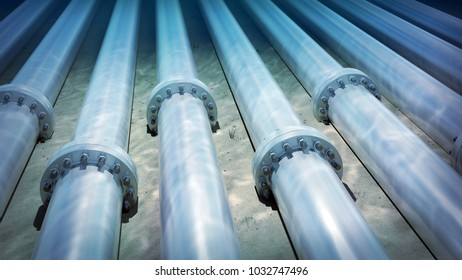 3d rendering of subsea pipelines on the seabed