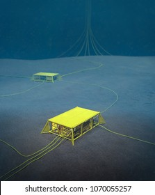 3D rendering of a subsea production manifold in a subsea field