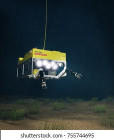 3d Rendering of a Subsea ROV Inspecting the Seabed