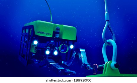 3d rendering of a subsea ROV performing operations in deep water