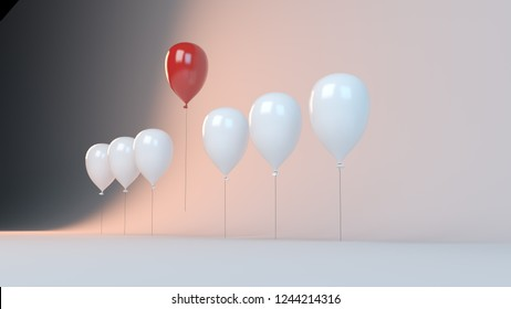 3d rendering of a success concept with balloon ahead inside a studio