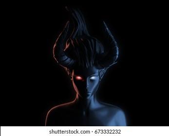 3D rendering succubus in dark