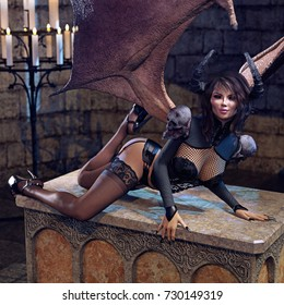 3D rendering of a Succubus laying across a podium inside an old chapel.