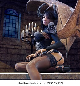3D rendering of a Succubus seducing the viewer inside an old chapel.