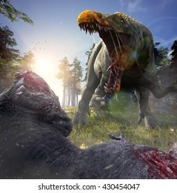3D Rendering of Suchomimus killing a Tyrannosaurus Rex.