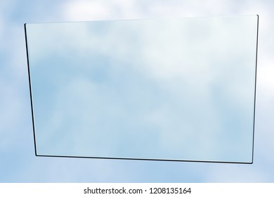 3d rendering of sun protection window hovering in front of open cloudy sky