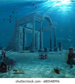 3d rendering of the sunken ruins of an ancient Atlantis type civilization.