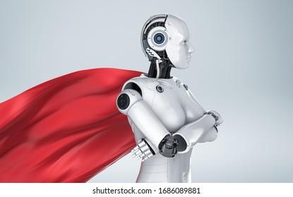 Robot de heroína o ciborg superhéroe 3d con capa roja